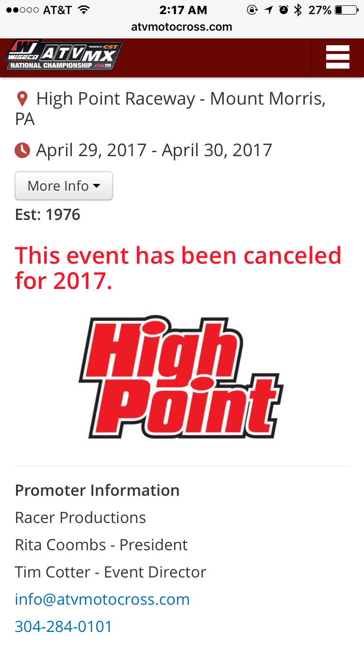 High Point national CANCELLED